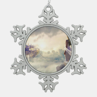 Fantasy Woman and Island Castle in the Clouds Snowflake Pewter Christmas Ornament
