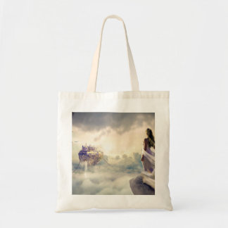 Fantasy Woman and Island Castle in the Clouds Tote Bag