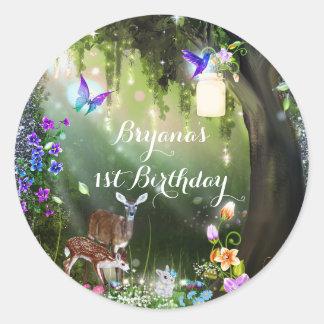 Fantasy woodland forest animals enchanted party round sticker