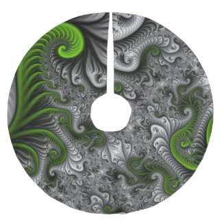 Fantasy World Green And Grey Abstract Fractal Art Brushed Polyester Tree Skirt