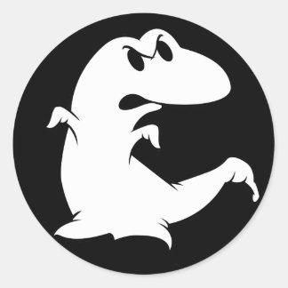 Fantôme de dinosaure sticker rond