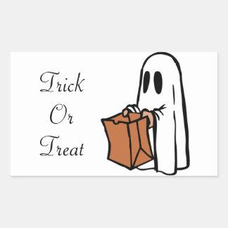Fantôme de Halloween de des bonbons ou un sort Stickers En Rectangle