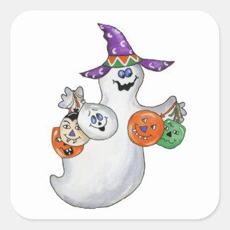 Fantôme de Halloween Sticker Carré
