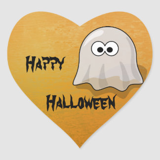 Fantôme de Halloween Sticker Cœur