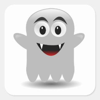 Fantôme de sourire amical de bande dessinée stickers carrés