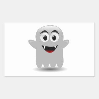Fantôme de sourire amical de bande dessinée autocollants rectangulaires