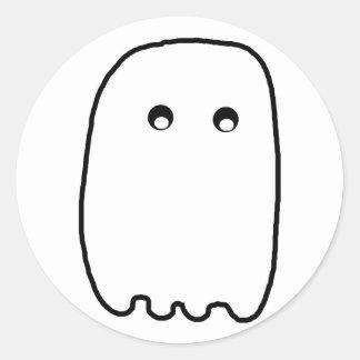 Fantôme effrayant autocollant rond