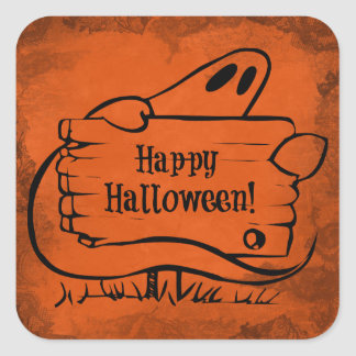 Fantôme heureux de Hallloween avec le signe Sticker Carré