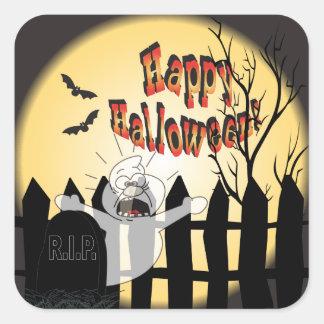 Fantôme heureux de Halloween dans un cimetière Sticker Carré