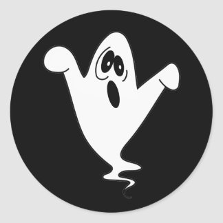 Fantôme mignon Halloween d'hurlement Sticker Rond
