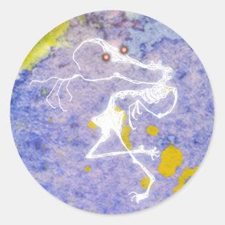 fantôme squelettique sticker rond