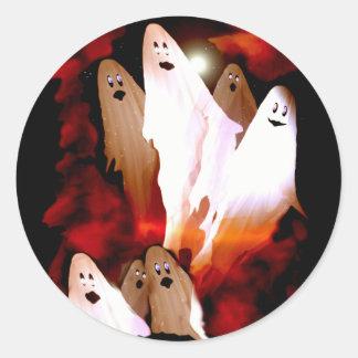 Fantômes de Halloween Sticker Rond