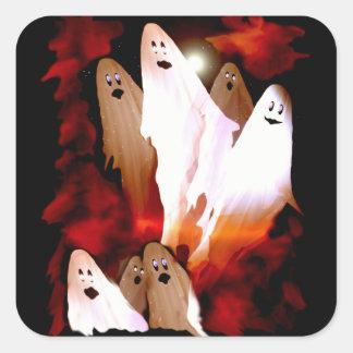 Fantômes de Halloween Sticker Carré