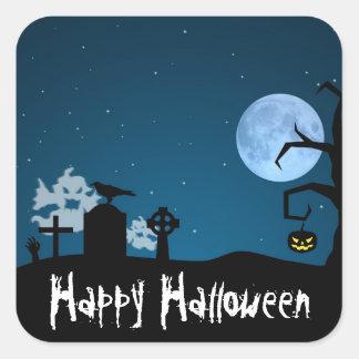 Fantômes de Halloween dans le cimetière - Sticker Carré