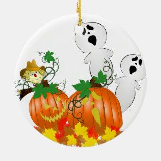 Fantômes drôles de Halloween Ornement Rond En Céramique