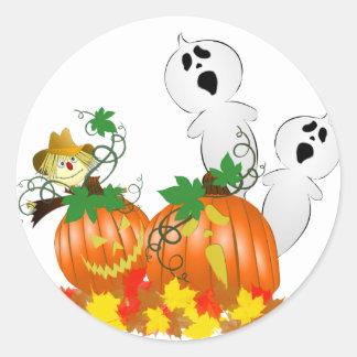 Fantômes drôles de Halloween Sticker Rond