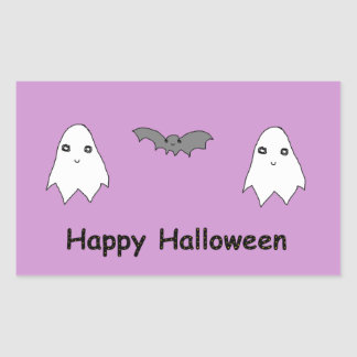 Fantômes et amis mignons de batte autocollant en rectangle