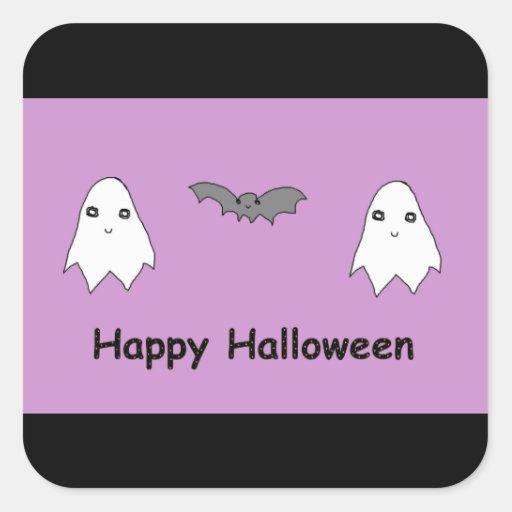 Fantômes et amis mignons de batte autocollants carrés