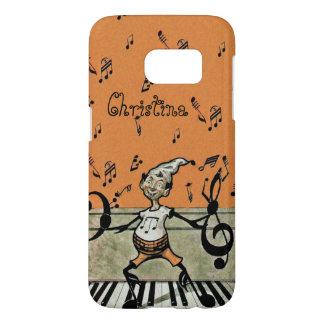 Fantsy Music Note Elf Standing on Piano on Orange Samsung Galaxy S7 Case