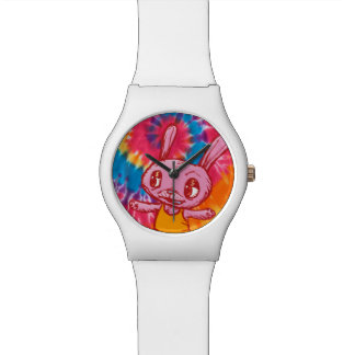 Far Out Hippy Tie-dye Bunny Rabbit Watch