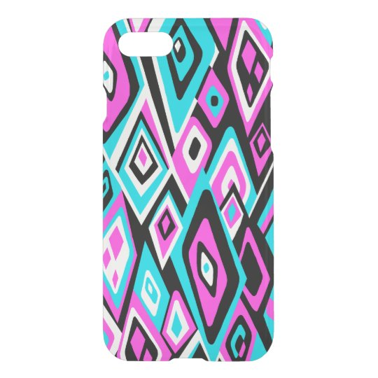 Far Out Retro Abstract Psychedelic - Turq & Pink iPhone 8/7 Case