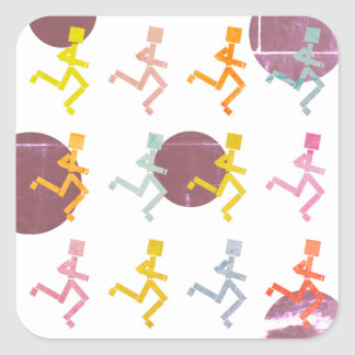 Far Out Runners Square Sticker