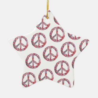Far Too Pretty Floral Peace Symbols Ceramic Ornament