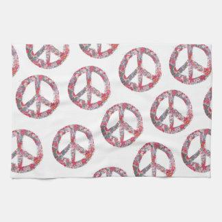 Far Too Pretty Floral Peace Symbols Hand Towels