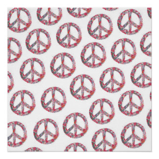 Far Too Pretty Floral Peace Symbols Perfect Poster