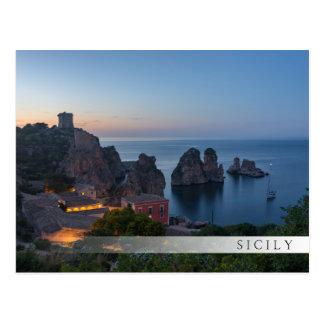 Faraglioni and Tonnara in Scopello, Sicily Postcard