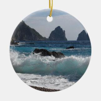 Faraglioni Rock formation on island Capri Ceramic Ornament