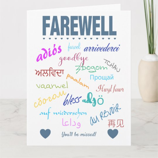 farewell card  you'll be missed  zazzleca