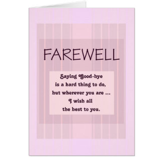Farewell/Good-Bye for Female Pink Stripes Card