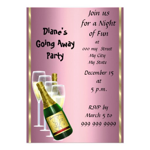 Farewell Party Invitation Card Good Bye Pink at Zazzle.ca