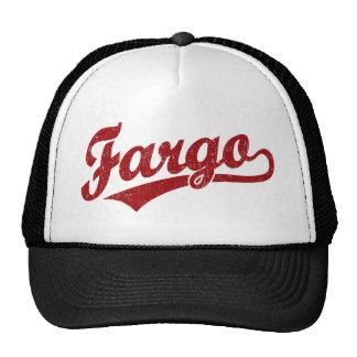Fargo script logo in red trucker hat