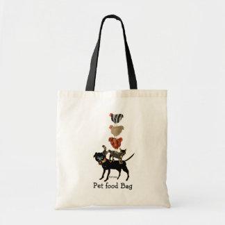 Farm acrobats. dog, cat, 3 hens! tote bag