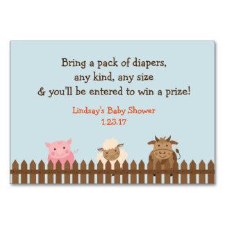 Farm Animal Baby Shower Diaper Raffle Card
