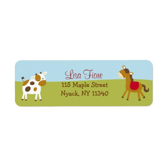 Farm Animal Barnyard Baby Shower Address Labels