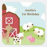 Farm Animal Birthday Stickers Square Stickers