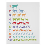 Farm Animal Counting Poster