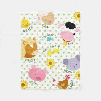 Farm Animal Design Flannel Blanket