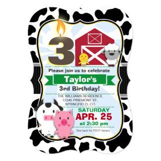 "Farm Animal Kids Birthday Party 5"" X 7"" Invitation Card"
