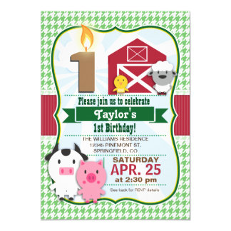 Farm Animal Kid's Birthday Party Invitation