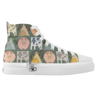 Farm Animal Pattern on Blue Grey Background High Tops