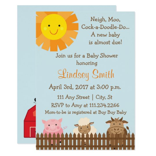 Farm Animal Themed Baby Shower Invite