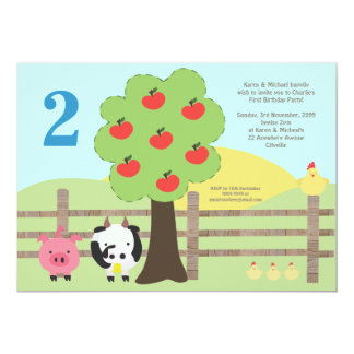 Farm Animals Apple Tree 2nd Birthday Party Invite