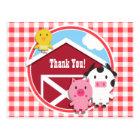 Farm Animals Baby Shower; Red & White Gingham Postcard