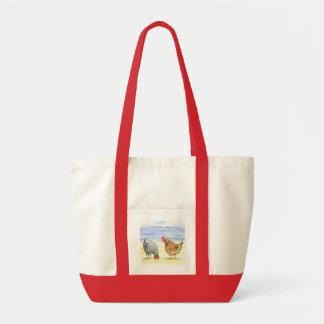 FARM ANIMALS BAG, LOVELY  HENS EATING, CHICKEN TOTE BAG