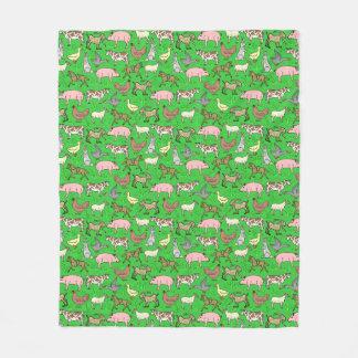 Farm Animals Barnyard Rustic Country Ranch Pattern Fleece Blanket