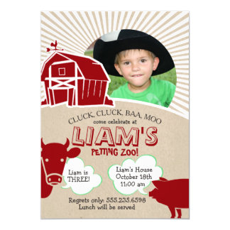 Farm Animals Birthday Invitation, Petting Zoo Card